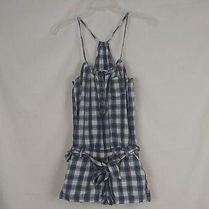 Abercrombie & Fitch blue plaid romper. Size small